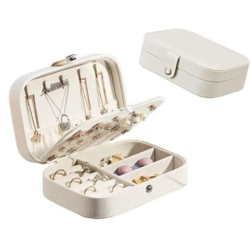 Cajas organizadoras de joyas de viaje, pequeñas cajas de cuero de PU de viaje para mujeres, collares, pendientes, anillos, pulseras de piel sintética, caja de regalo para mujeres y niñas, color blanco