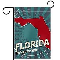 ガーデンヤードフラッグ両面 /28x40in/ ポリエステルウェルカムハウス旗バナー,フロリダ州の強いハリケーンマイケル