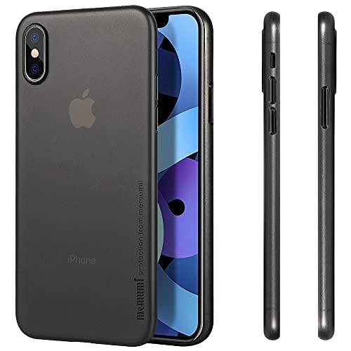 memumi Coque pour iPhone X/10 0.3 mm Coque Slim Fit Finition Matte [Résistant aux Chocs, Antidérapant, Anti-Rayures] Coque de Protection pour iPhone X. Perfit Fit avec Design Anti-empr (Trans-Noir)