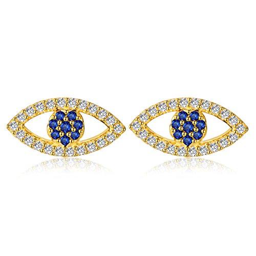 Pendientes chapados en oro de Hamsa de ojo maligno de plata de ley 925 con circonita cúbica azul blanca para mujeres y niñas
