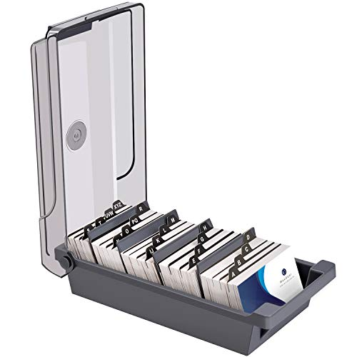 """MaxGear Business Card Holder for Desk, Business Card Organizer Business Card Case, Credit Card Holder File, Index Card Box Storage, Capacity: 500 Cards (3.5"""" x 2.2""""), 4 Divider Boards & A-Z Tabs, Gray"""