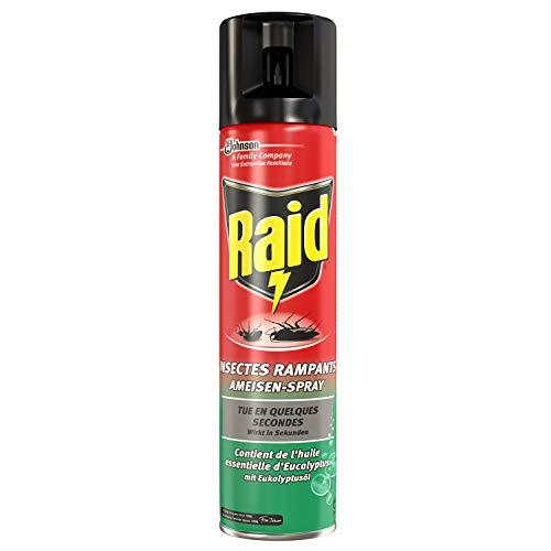 Raid - Aerosol insecticida con aceite esenciales de eucalipto - Insecticida para insectos rastreros como hormigas, arañas, cucarachas, etc. - 400 ml.