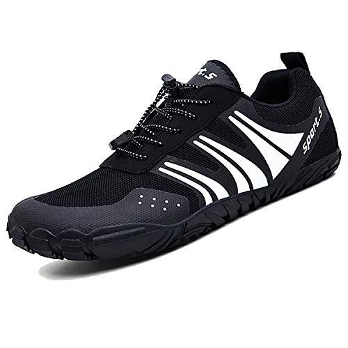 Unitysow Hombre Zapatilla Minimalista de Barefoot Trail Running Calzado de Correr en Montaña Sneakers Versátil Aire Libre Deportes Gym Asfalto Playa Zapatos de Agua,Negro,42