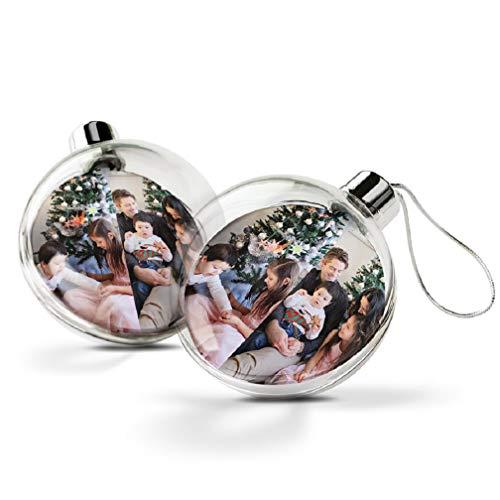 YourSurprise Weihnachtskugel mit Foto - Weihnachtskugeln personalisiert mit doppelseitig bedrucktem Foto, transparent und aus Kunststoff (2 Stück)