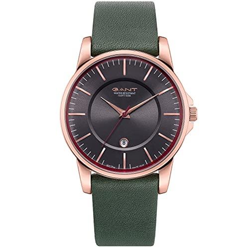 Reloj GANT para Hombre con Pulsera de Cuero Genuino de Oro Rosa