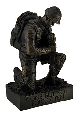 Zeckos Silent Salute Kneeling Military Soldier with Rifle In Ground Statue