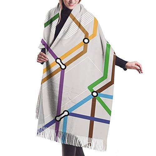 Bufanda de invierno clásica de otoño para mujer,Acción de Gracias Navidad esquema de metro sin costuras, bufanda cálida, suave y gruesa, manta grande, chal, bufandas