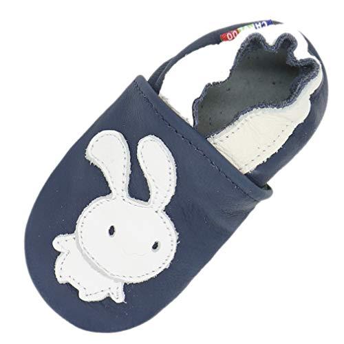 Carozoo Weiche Sohle Leder Baby Kinder Hallenschuhe Prewalker (16 Designs), Blau - Bunny Navy Blue - Größe: 4-5 Jahre