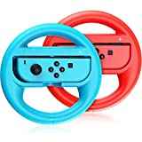 VOYEE Steering Wheel Compatible with Nintendo Switch Wheel, Family Use Accessories Compatible with Switch JoyCon Controllers, 2 Pack (Blue and Red)