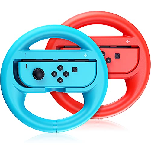 VOYEE Steering Wheel Replacement for Nintendo Switch Wheel, Family Use Switch Accessories Compatible with Switch Joy Cons Controllers, 2 Pack (Blue and Red)