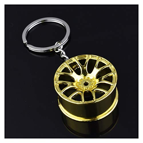 OYZK Luxury Wheel Hub Key Chain Alloy Tire Styling Car Key Ring Auto Modification Parts Key Holder (Color Name : Golde)