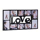Relaxdays Marco de Fotos Múltiple Love para 10 Fotografías, Plástico, Negro, 36.5x72x2 cm