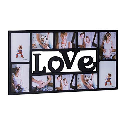 Relaxdays Bilderrahmen Collage LOVE, Fotorahmen 10 Bilder, Wandgalerie für Fotocollagen, HBT: 36,5 x 72 x 2 cm, schwarz