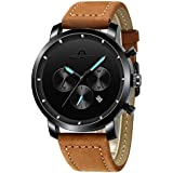 MEGALITH Mens Watch Brown Leather Stainless Steel Waterproof Chronograph Watch for Men Auto Date Business Wrist Watch for Man