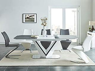 Sellon24/Signal Table de salle à manger extensible en céramique italienne 160-220 cm Blanc mat gris MDF Valerio