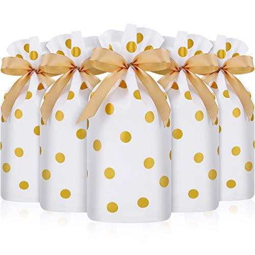Frienda 30 Piezas Bolsa de Dulces con Cordón, Bolsa de Favores de Plástico Bolsa de Galletas de Cordón para Navidad Boda Cumpleaños Compromiso Fiesta (Impresión de Puntos Lunares Dorados)