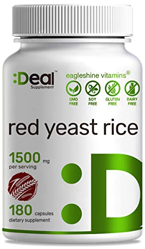 Deal Supplement Red Yeast Rice 1500mg, 180 Capsules, Support Cardiovascular Health & Promote Blood Circulation, No Citrinin, No Gluten, Non GMO