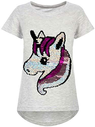 Kmisso Kinder Mädchen T-Shirt Einhorn Motiv Wende-Pailletten Shirts Oberteil Bluse 30060 Grau 104