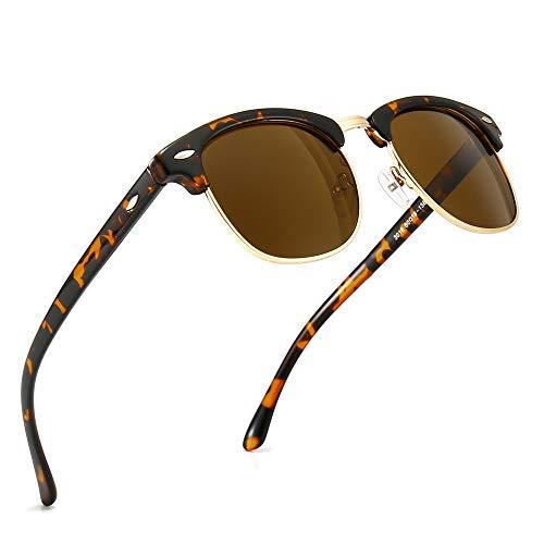 SUNGAIT Ronda Retro Semi Montura Gafas de Sol Polarizadas UV Protección para Hombres / Mujeres(Marco de Plástico Ámbar/Lente Marrón)