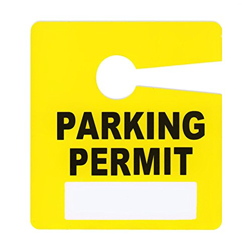 Parking Permit Pass Stock Hang Tags for Employees, Tenants, Students, Businesses, Office, Apartments, 10 Pack (Yellow)