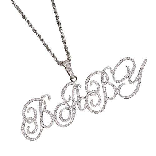 MILsEnse Hip Hop Collar con Nombre cursivo Personalizado Iced out A-Z Letra Inicial Colgante Bling Bling Lleno de Diamantes Colgante Collar Charm para Hombres Mujeres