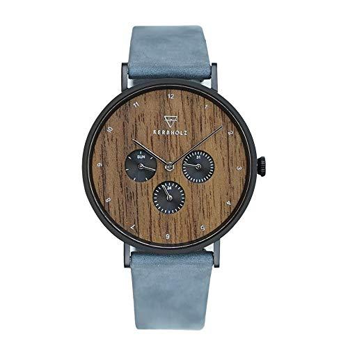 KERBHOLZ Holzuhr Uhr – Elements Collection Caspar analoger Herren Chronograph, Naturholz Ziffernblatt, echtes Lederarmband, Ø 42mm, Walnuss Dunkel-Blau
