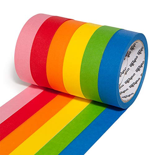 Craftzilla Colored Masking Tape – 6 Rolls of 20 Yards x 1 Inch Rainbow Tape – Colorful Craft Tape for Kids Teachers & Painters - for Home, Classroom, Labeling and Laboratory Identification Use