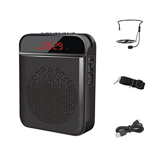 ZITFRI Amplificador de Voz Portatil Bluetooth Recargable 3000 mAh, Altavoz Portatil con Microfono Auriculares, Amplificador de Voz Portatil para Profesores, Guía Turístico etc, Admite USB/TF Tarjeta