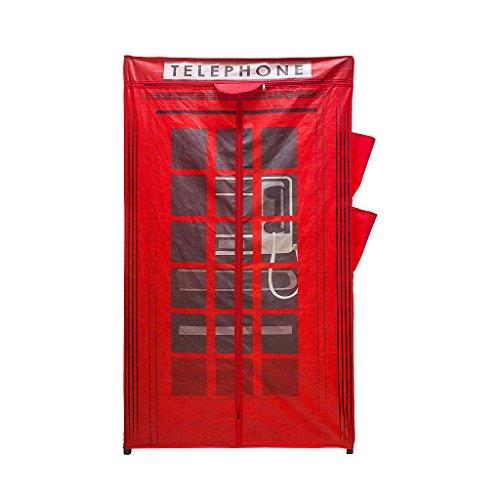 Balvi Armadio London Colore Rosso con Cerniera 4 Tasche Laterali Tela 156x87x46cm