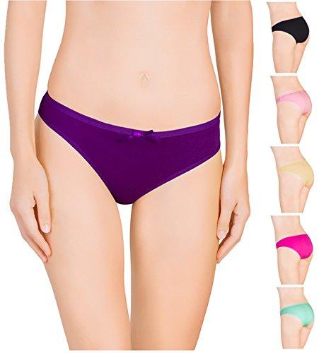 Nabtos Womens Underwear Bikini Plain Cotton Panties for Women (Pack of 6) (XSmall/4, all 6 colors)