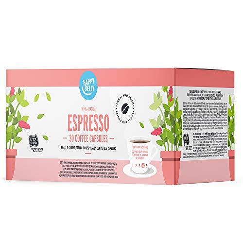 Marca Amazon - Happy Belly Espresso Café molido de tueste natural en cápsulas (compostables) compatibles con Nespresso, 30 cápsulas (3x10)