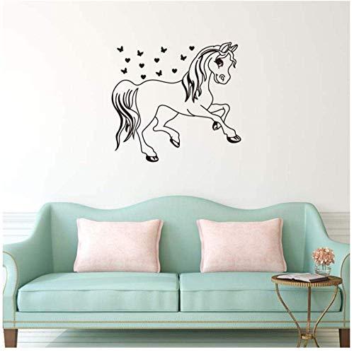 Cartoon Trojan Paard Kleine Vlinder Muurstickers voor Kwekerij Kids Kamer Meisjes Vinyl Decals Slaapkamer Art Poster Murals57X61Cm