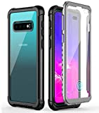 Samsung Galaxy S10 Plus Case,Temdan Built-in Screen Protector with Fingerprint Hole Full Body Protect Support Wireless Charging,Heavy Duty Dropproof Case for Samsung Galaxy S10 Plus 6.4 inch (Black)