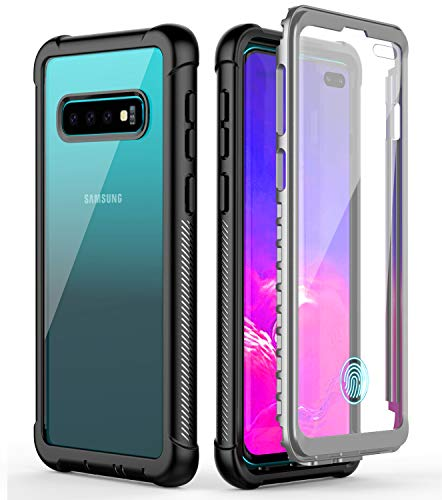 Samsung Galaxy S10 Plus Case,Temdan Built-in Screen Protector Full Body Protect Support Wireless Charging,Heavy Duty Dropproof Case for Samsung Galaxy S10 Plus 2019 Release (Clear/Black)