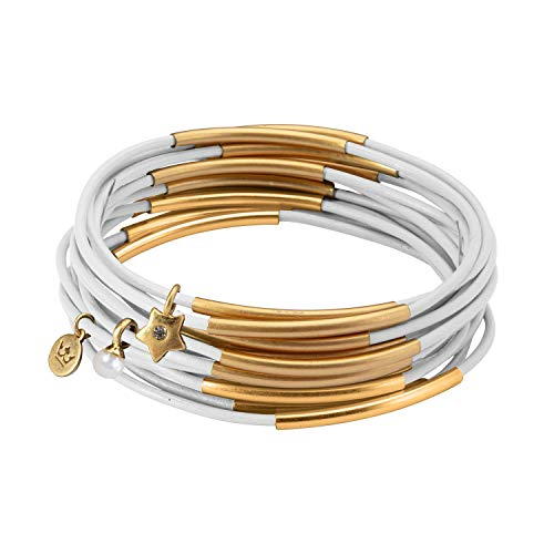 SENCE Copenhagen Armband Damen Weiß Urban Gypsy Stack Bracelet mit Perlen Armreif 10er Set Lederarmband - Vergoldet - 6,5 cm - G821