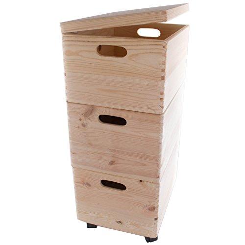 Search Box Juego de Tres Grandes apilables Cajas con Ruedas en el Pecho de Almacenamiento de Madera/Juguetes/baúl