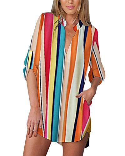 ZANZEA Blusa de manga larga con cuello en V para mujer con estampado floral