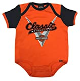 Harley-Davidson Baby Boys' Classic Colorblocked Infant Creeper, Orange (24M)