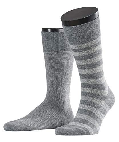 ESPRIT Herren Socken Piqué Stripe 2-Pack, Baumwollmischung, 2 Paar, Grau (Light Grey Melange 3390), Größe: 43-46