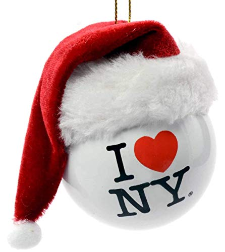 Kurt Adler I Love New York NY Ball with Santa Hat Christmas Ornament