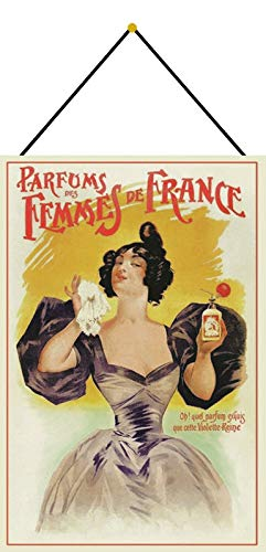 Metalen bord 20 x 30 cm gebogen met koord reclame affiche parfum van Femmes de France metaal decoratief geschenk bord