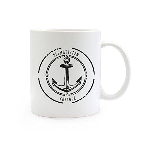 ilka parey wandtattoo-welt® Tasse Becher Kaffeetasse Kaffeebecher Ankertasse Anker Kompass mit Spruch Sprichwort Heimathafen Rostock maritim ts400
