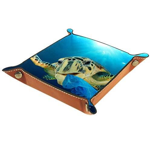 Bandeja de Cuero - Organizador - Tortuga Marina Azul Animal Acuático - Práctica Caja de Almacenamiento para Carteras,Relojes,llaves,Monedas,Teléfonos Celulares y Equipos de Oficina