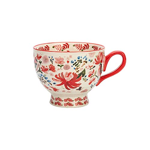 JLWM Cuenco para Sopa con Asa Estilo Japonés, Cuencos para Sopa Jarra Taza Tazón De Porcelana Cerámico Estilo Europeo Vintage Retro Microonda Colores para Desayuno Harina De Avena Té Café-F-450ML