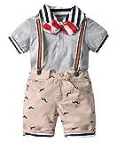 Happy Cherry - 3 Pcs Conjuntos Bebés Ropa de Bautizo de Algodón Traje Corto de Boda Fiesta con Tirantes Pantalones Estampados Verano para Infantil de 2-3 Años - Marrón
