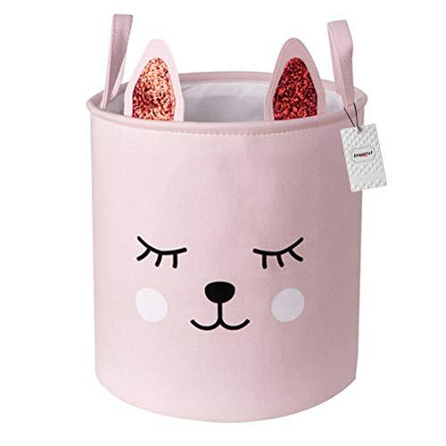 Inwagui Mädchen Aufbewahrungskorb Faltbare Baby Wäschekorb Kinderzimmer Stoff Aufbewahrungsbox LagerungsKorb für Spielzeug Kleidung - Rosa Katze