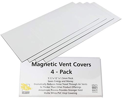 """Magnetic Vent Cover – 5 1/2"""" x 12"""" Extra Thick Wall/Floor/Ceiling Vent Covers (4-Pack) That Will Reduce Sound, Very Flexible, and Will Stick to Your Vents – Made from Premium Magnets by Kelbert"""