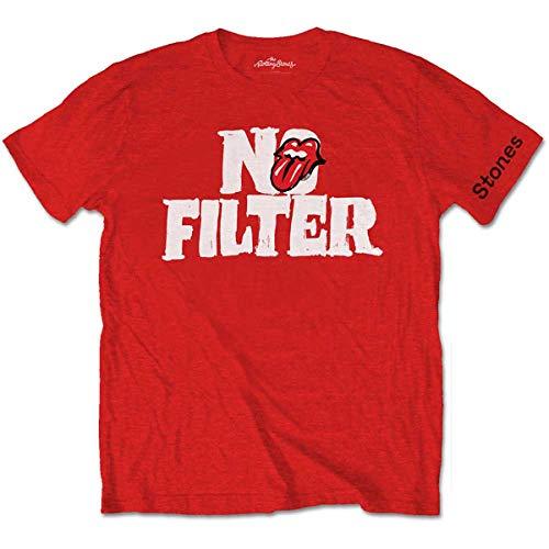 Rolling Stones The Filter Header Logo Camiseta, Rosso, L para Hombre
