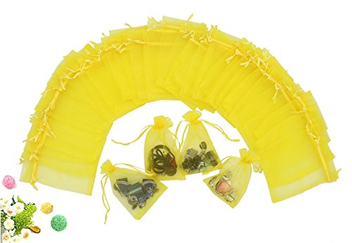 "Wuligirl 100 PCS Yellow Sheer Organza Drawstring Pouch Jewelry Marbles Coins Wedding Party Candy Bag Gift Festival Gift Bags(100 pcs Yellow, 4x6"")"