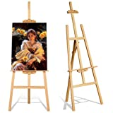 Studio Easel 1.75m Foldable Wooden A Frame Painting Painter Drawing Stand Board 69 Inch Art Display Easel Artist Sketching Wedding Craft Pine Wood